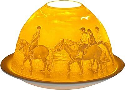 Bianco Ceramica 11x11x9 cm Him Dom Light Fawn Portacandela Antivento