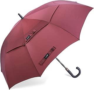 Promover 62 Inch Automatic Open Golf Umbrella Ergonomic Rubber Handle J Shape Handle Extra Large Double Canopy Vented Windproof Stick Umbrella
