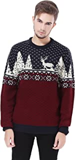 Men's Christmas Reindeer Snowman Penguin Santa and Snowflakes Sweater