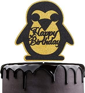 Cartoon Happy Birthaday Glitter Cake Topper Penguin Happy Birthday Cake Topper - Black Glitter Winter Wonderland Penguin Cake Décor - B (Penguin)