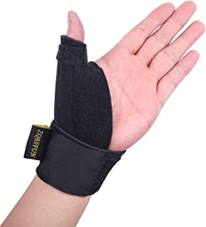 Adjustable Compression Support Thumb Brace -Reversible Thumb & Wrist Stabilizer Splint Breathable Support for Trigger Finger, Pain Relief, Arthritis, Tendonitis, Sprained, Carpal Tunnel.