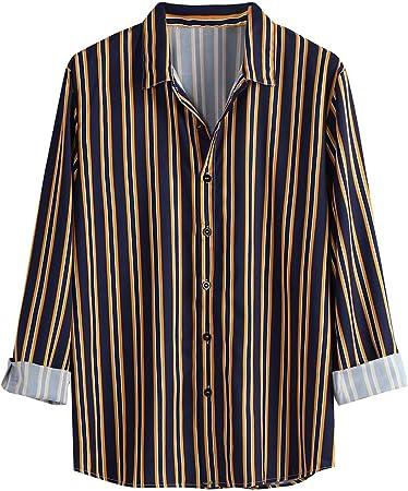 Camisa de Manga Larga con Estampado a Rayas Casual de otoño ...
