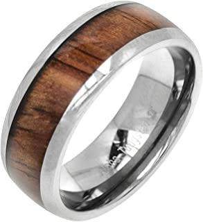 Aloha Jewelry Company Tungsten Carbide Genuine Hawaiian Koa Wood 8mm Comfort Fit Ring/Wedding Band