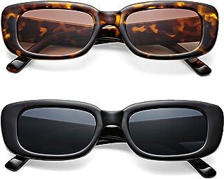 نظارات شمسية نسائية مستطيلة عصرية عصرية واقية UV400 بإطار سميك نظارة شمسية صغيرة الحجم