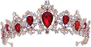Frcolor Wedding Royal Tiara Crown Bridal Crystal Tiara Crown for Pageant Wedding Bridal Beauty Contest Prom Party (Red)