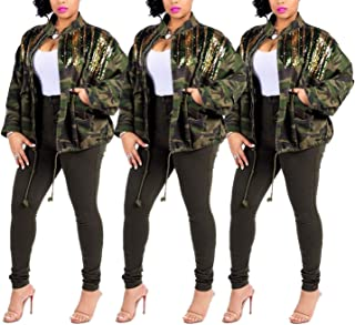 Full Zipper Camouflage Print Autumn Winter Sequin Denim Jacket Coat Top Outfit