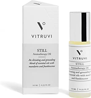 Vitruvi Still Aromatherapy Oil, for Stress Relief & Meditation, Premium Grade Essential Oil Blend, Stainless Steel Roll-On...