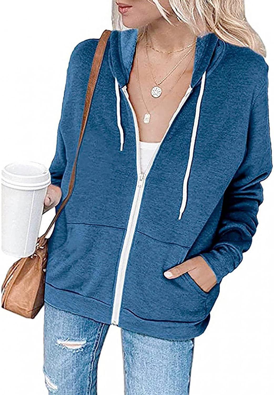 Nulairt Womens Hoodies,Women's Fashion Zip Up Sweatshirt Solid Color Drawstring Hooded Tops Lightweight Jackets