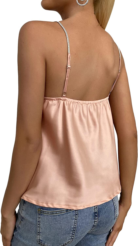 Milumia Women Cowl Neck Spaghetti Strap Satin Cami Backless Draped Front Camisole