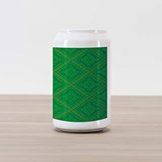 Ambesonne Green Cola Can Shape Piggy Bank, Vector Illustration Seamless Pattern of Foliage Botanical Details Pattern, Ceramic Cola Shaped Coin Box Money Bank for Cash Saving, Forest Green