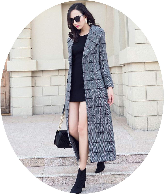 Dreamedge Winter Women's Wool Plaid Coat Long Woolen Coat Slim Type Female Winter Wool Jackets