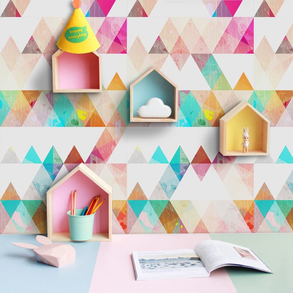 Amaonm Removable 15.8 x 98.4inch Rainbow Colorful Geometry Triangle Wall Decals DIY Wallpaper Wall Stickers Murals Decor for Kids Children Babys Girls Bedroom Teens Nursery Living Room Door Desk Decoration (Triangle)