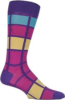 Mens 1 Pair Pantherella Kauai Cotton Lisle Bold Check Socks