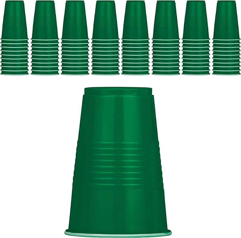 DecorRack 80 Party Cups 16 Oz BPA Free Plastic Soda Cups Perfect For Birthday Picnic Indoor And Outdoor Event Stackable Reusable Disposable Round Beverage Drinking Cup Green Pack Of 80