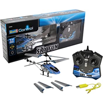 Revell Control RC helicopter, remote-controlled helicopter for beginners, 2.4 GHz remote control, easy to fly, gyro, stable chassis, LED lighting, USB charger - SKY FUN 23982