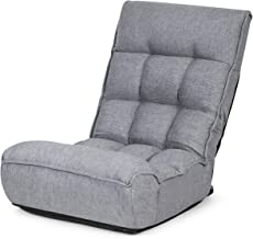 Giantex Floor Chair Sleeper 4-Position Adjustable Angle Folding Lazy Sofa Cushioned Couch Lounger Easy for Storage (Gray)