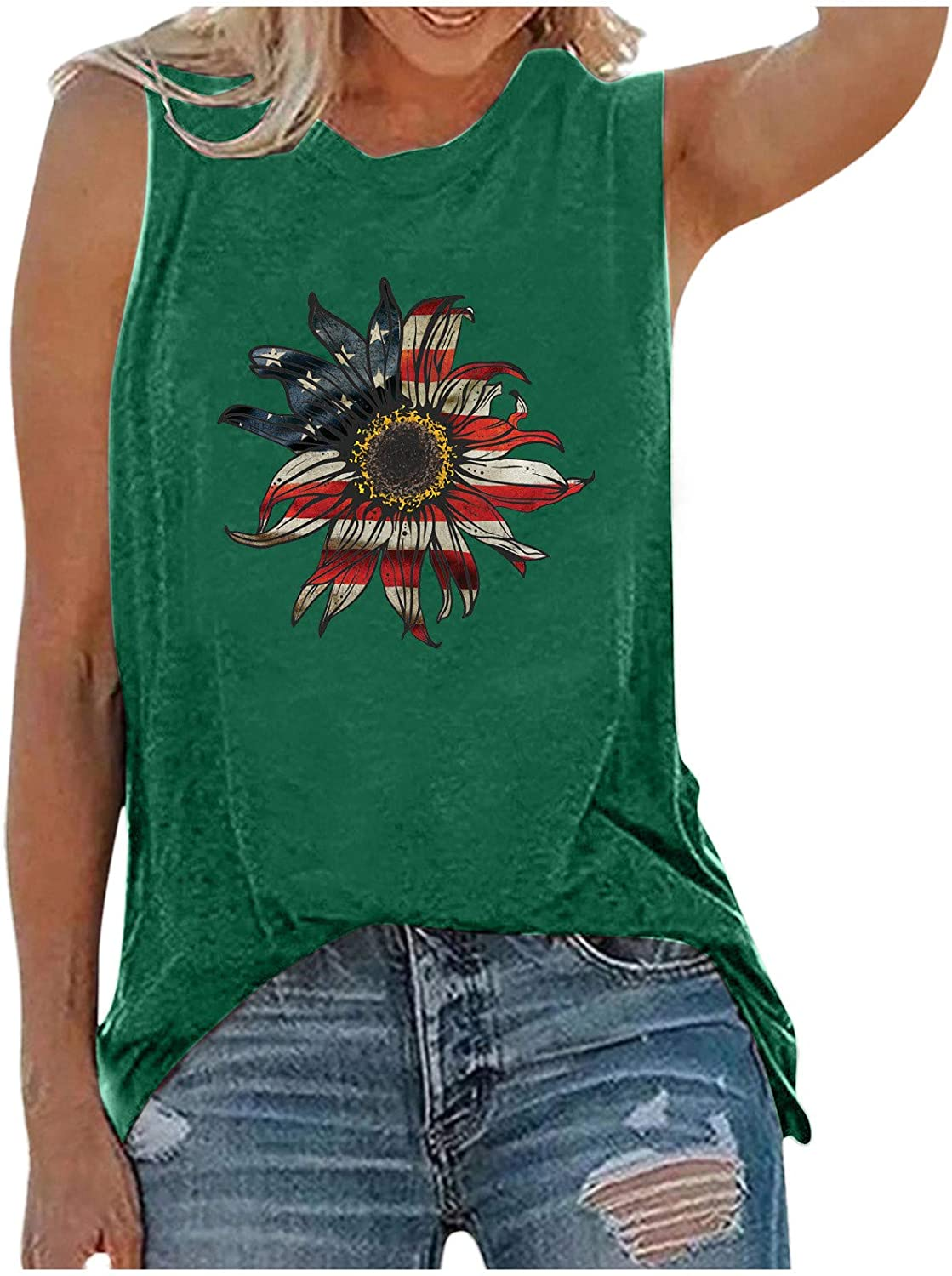 ManxiVoo Women Casual Star Striped Mail order Sunflower S Printing Tank Top Popular product