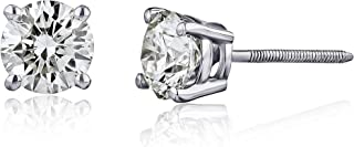 AGS Certified Brilliant-Cut Diamond Classic 4-Prong Screw Back Stud Earrings in 14K White or Yellow Gold (K-L Color, I2 Clarity) - Choice of Carat Weights