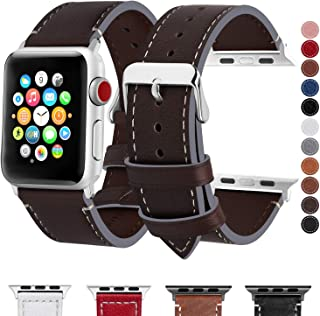 Fullmosa Compatible Apple Watch Band 40mm 38mm 42mm 44mm Genuine Leather iWatch Bands, 38mm 40mm Coffee + Smoky Grey Buckle