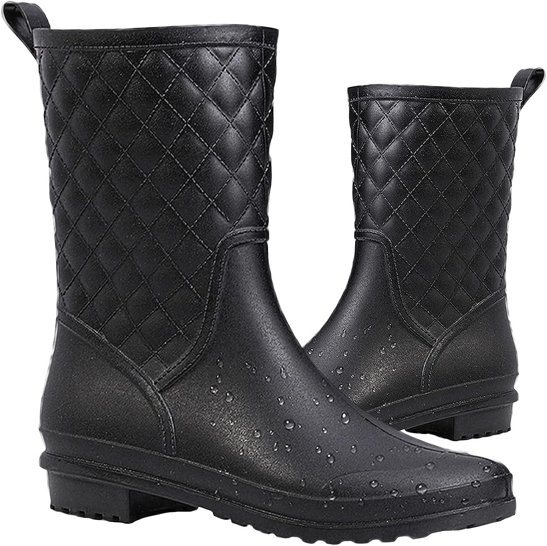 Rain Boots for Women Waterproof - Black Non-Slip Comfortable Mid Calf Rubber Boots Fashion Out Work Lightweight Garden Boots Soft Classical Short Rain Boots