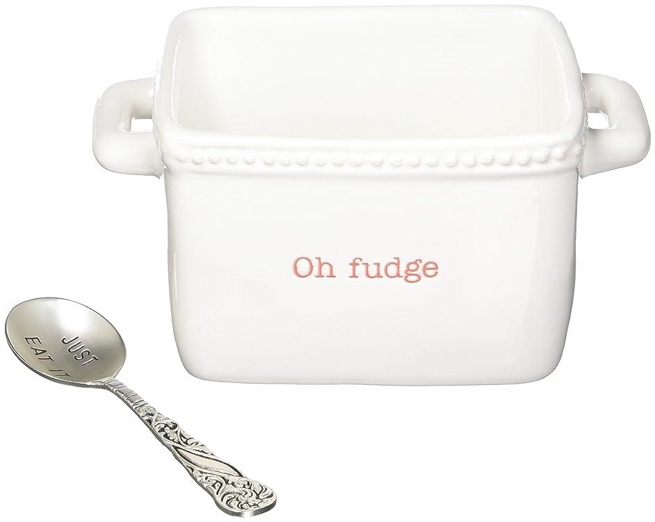 Mud Pie 4851091F Fudge Ceramic Candy Dish, White
