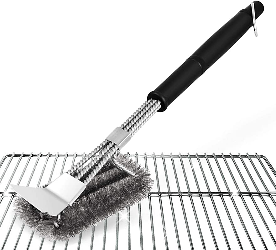 Absofine Grill Brush And Scraper BBQ Brush For Grill 18 Barbecue Stainless Steel Brush With A Storage Bag Best Grilling Accessories Cleaner For Grill Lovers