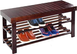 Casart Wooden Shoe Bench Storage Racks Solid 2-Tier Seat Organizer Entryway Hallway Shoes Rack Organizer(Espresso)