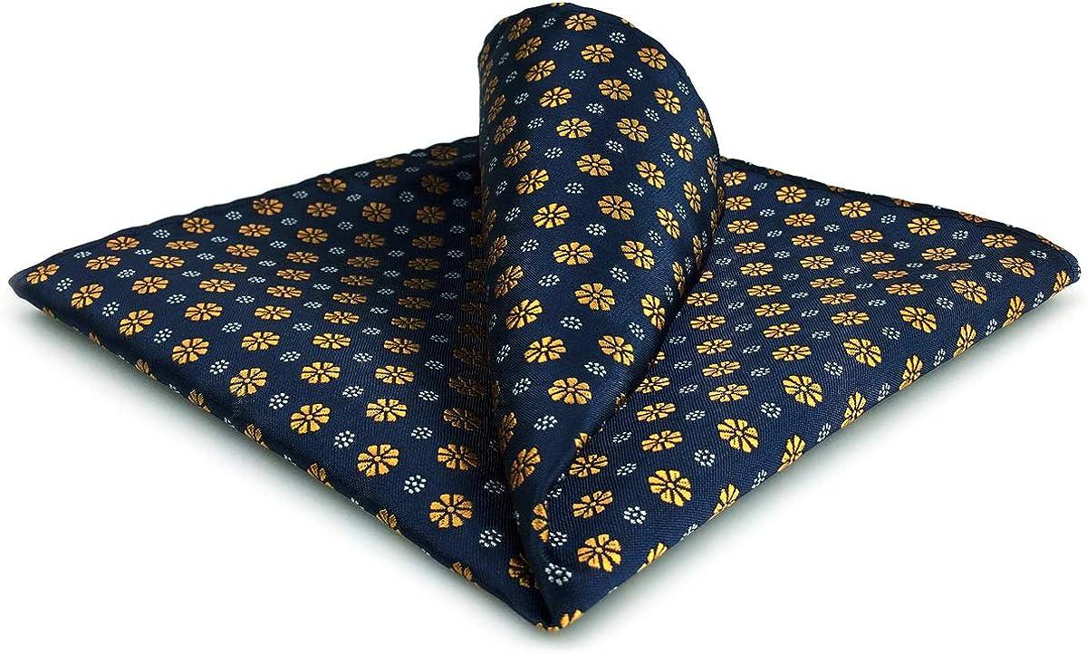 S&W SHLAX&WING Classic Handkerchief for Men Blue Orange Flower Pocket Square 12.6