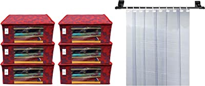 Kuber Industries Metalic Flower 6 Piece Non Woven Saree Cover, 7 Inch, Red & 6 Strips PVC Ac Curtain-7Ft, 0.5Mm Transparent (Ckts18) Combo