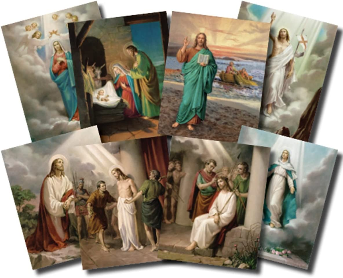 The Quantity limited Mysteries of the Genuine Free Shipping Rosary Illustrated Set 20 Poster Cardstock