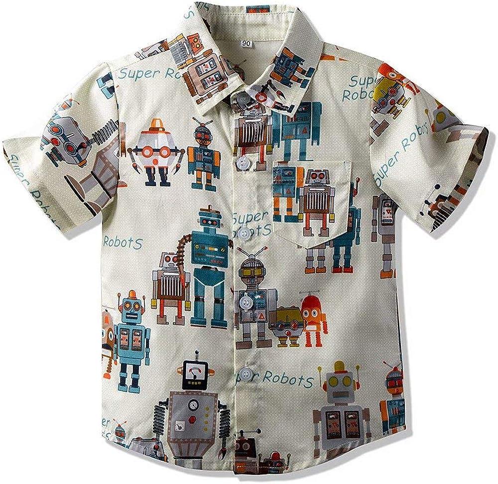 Hemopos Toddler Boys Summer Short Sleeve Robot Print Shirts for Boys 3-8 Years