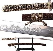 Japanese Samurai Sword Katana Clay Tempered Full Tang Real Sharp Blade Folded 1095 High Carbon Steel Rosewood Saya Can Cut Bamboo