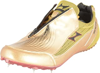 HEALTH Unisex Gold Pu Leather & Mesh Sprint Running Spikes Shoes UK Sz