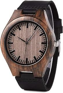 BOBO BIRD Mens Vintage Analog Quartz Wooden Wrist Watches Handmade Casual Men Watch with Cowhide Leather Strap