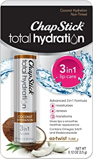 ChapStick Total Hydration Coconut Lip Balm Tube, Hydrating Coconut ChapStick for Lip Care - 0.12 Oz