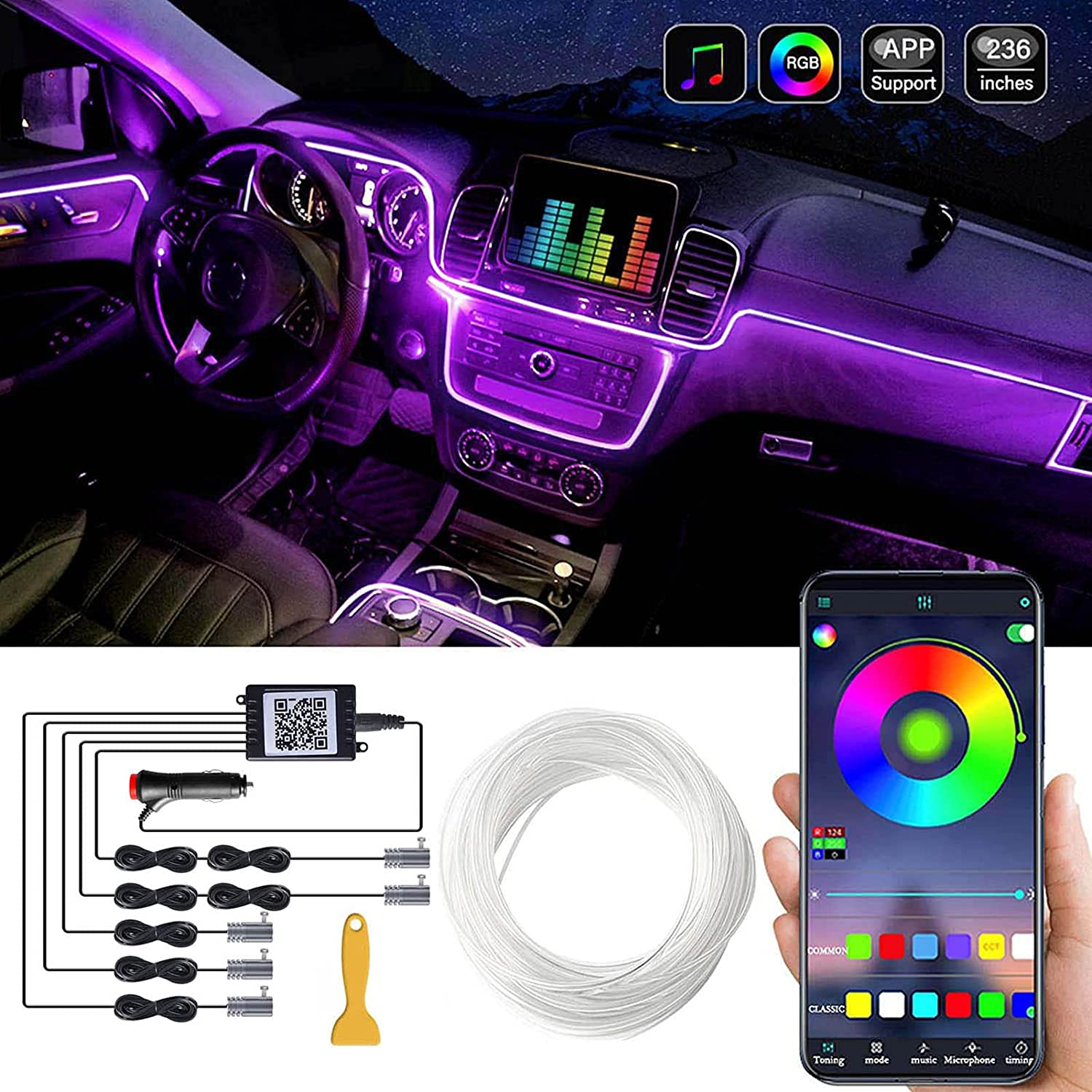 Car LED Interior Strip Light 16 Max 59% OFF Max 77% OFF Million 1 in 236 Colors 5 with