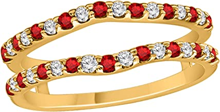 OMEGA JEWELLERY 14K Gold Round Cut Sim. Ruby & 0.12 Ct Natural Diamond Curved Enhancer Wrap Guard Ring