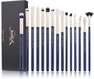Jessup Makeup Brushes 15pcs Eye Make-up Brushes Set for Eye Shadow Eyeliner Lip Contour Concealer Smudge Brush Tool Synthetic Fibers Eye-Brushes Prussian Blue T477