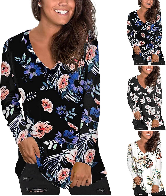 Womens Tops Long Sleeve T Shirt V Neck Floral Print Graphic Tees Loose Casual Shirts Fall Basics Pullover Tunic