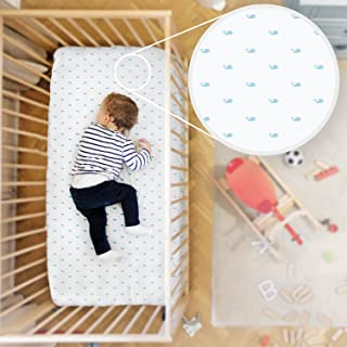 Rabitat Organic Cotton Fitted Crib Sheet. Bedsheet for Cribs/Cots (Whales) White