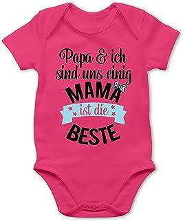 Shirtracer Muttertagsgeschenk Tochter & Sohn Baby - Mama ist die Beste - blau schwarz - Baby Body Kurzarm für Jungen und Mädchen