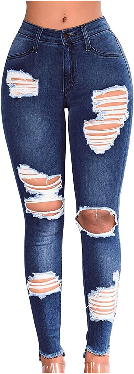 Women's Ripped Mom Jeans High Waisted Fray Hem Skinny Denim Pants Butt Lift Slim Fit Distressed Jeans Pants
