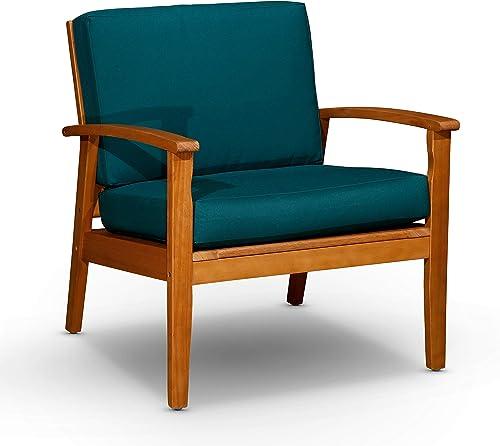 popular DTY lowest Outdoor Living Longs high quality Peak Deep Seat Eucalyptus Chair - Natural Oil Finish, Dark Green Cushions online