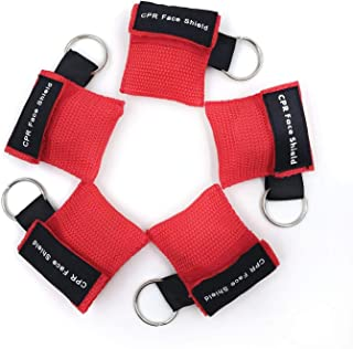 SUNYAO 5 Pack Red CPR Mask Keychain Ring Emergency Face Shields with One-Way Valve Breathing Barrier for First Aid Rescue or AED Training