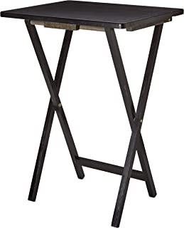 PJ Wood Folding TV Tray & Snack Table - Black