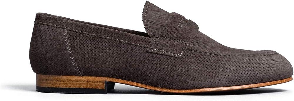 Nero giardini scarpe mocassini da uomo in camoscio E001415U 201