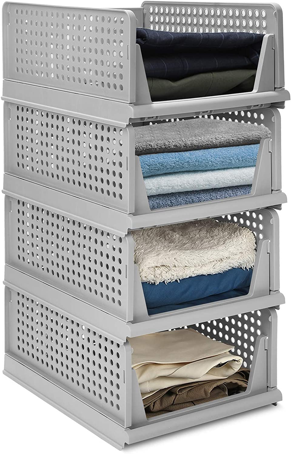 Gray Foldable Closet Organizers Storage Bins Perfect for Bedroom /& Kitchen Pull Out Like a Drawer Hossejoy Set of 4 Stackable Plastic Storage Basket