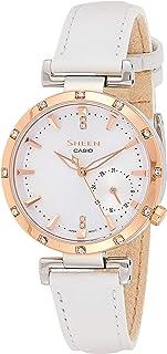 ساعة كوارتز للسيدات بنمط عرض انالوج وسوار جلدي ابيض من كاسيو، موديل She-4051Pgl-7Audf