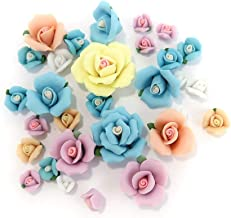 Linpeng Porcelain Craft Scrapbook and Jewelry Making-Vintage Rose Clay Flower Matte Surface Beads Assorted-Pastel Color-30 Pcs, Asst.