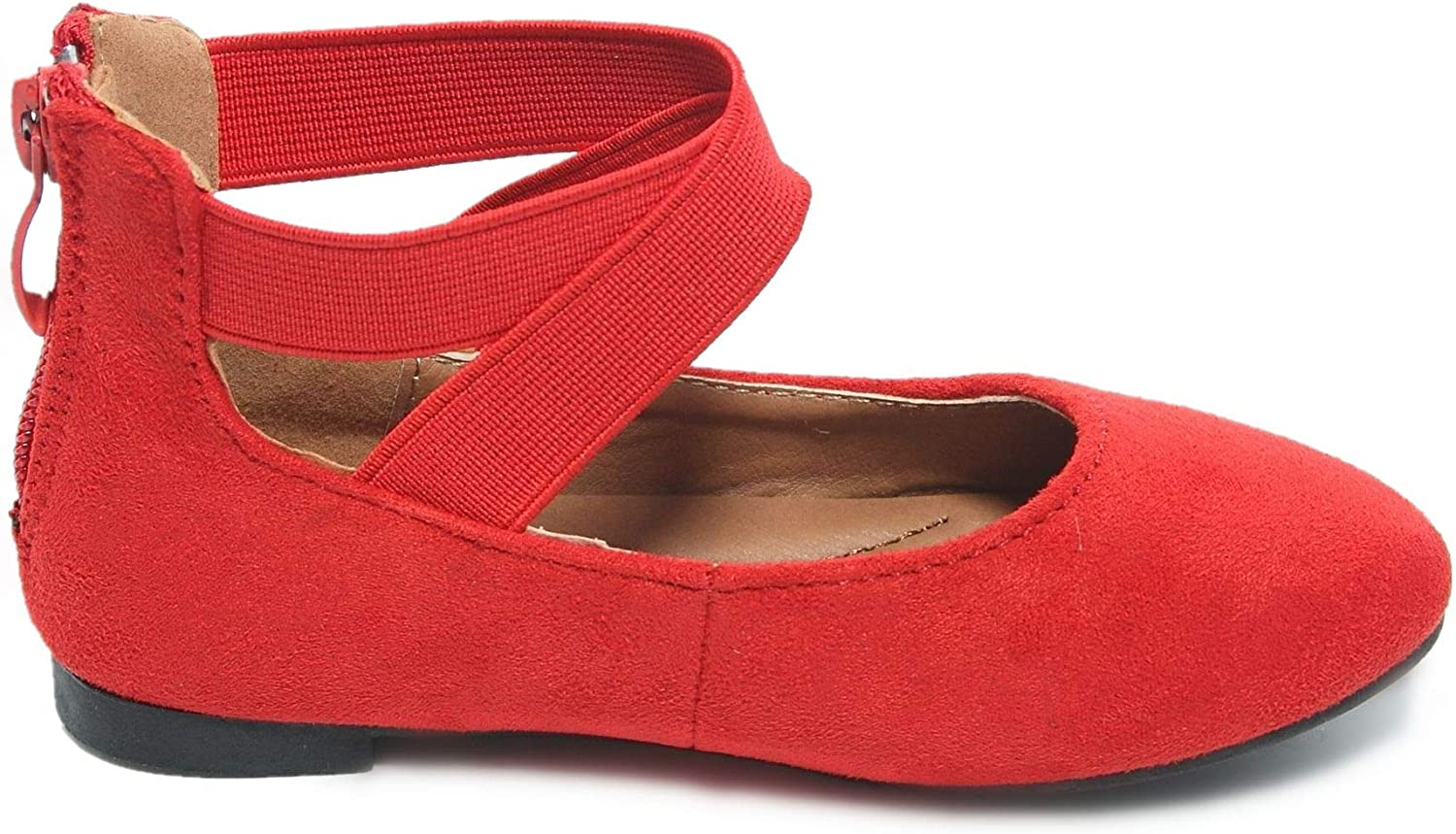 ANNA Girl Kids Dress Ballet Flat Elastic Ankle Strap Faux Suede Shoes